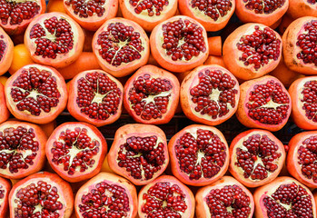 Cut jucy pomegranates on streets of Istanbul, Turkey