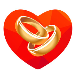 red heart and two rings