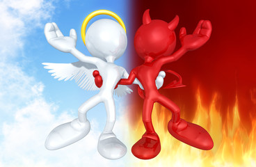 Angel And Devil Character Together