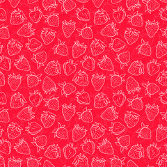 Seamless pattern with strawberries. Vector seamless texture for wallpapers, pattern fills, web page backgrounds