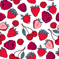 Seamless pattern with strawberry, raspberry and cherry. Vector seamless texture for wallpapers, pattern fills, web page backgrounds