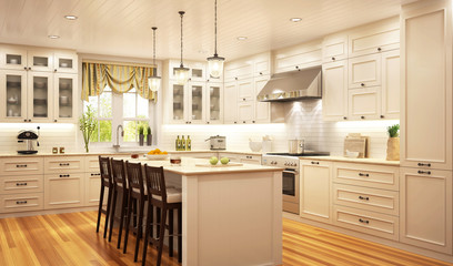Beautiful kitchen in classical style