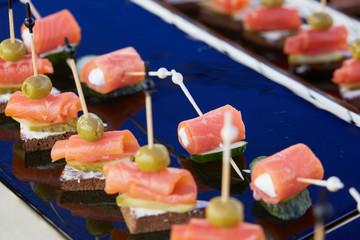 tasty snack on skewers Buffet