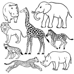 Set of African animals: hippopotamus, elephant, lion, giraffe, zebra, hyena, cheetah, rhino