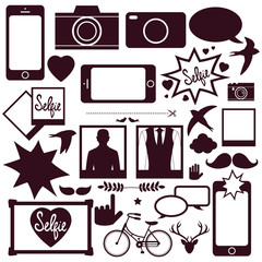 Set of modern media communication and hipster elements, camera, photo, selfie,