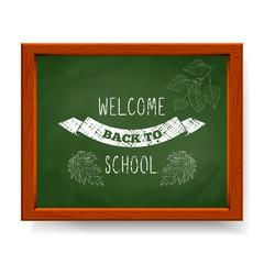 Welcome back to school text written in chalk on green blackboard