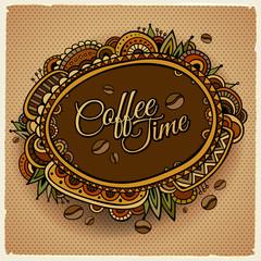 Coffee time decorative border label design.