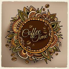 Coffee time decorative border label design
