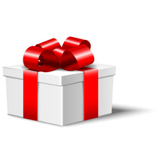 White gift box with red bow isolated on white, vector illustration