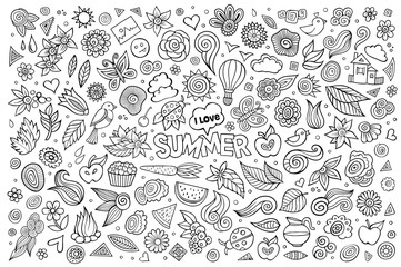Summer nature hand drawn vector symbols and objects
