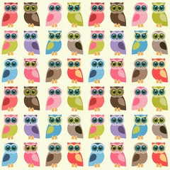 background with colorful owls and owlets