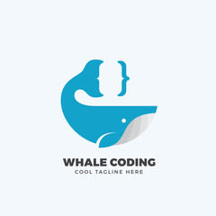 Whale Coding Abstract Vector Emblem, Label, Logo Template. Tail as a Curly Brace Concept Symbol or Icon. Flat Style Silhouette.