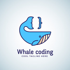 Whale Coding Abstract Vector Emblem, Label, Logo Template. Tail as a Curly Brace Concept Symbol or Icon. Line Style Design.