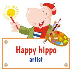 Set of vector happy hippo: artist. Funny hippopotamus. Frame for text.