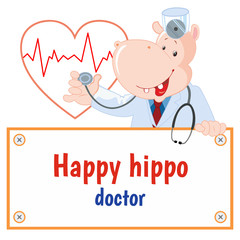 Set of vector happy hippo: doctor. Funny hippopotamus. Frame for text.