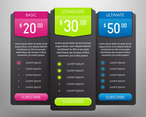 Pricing Tables Mock Up