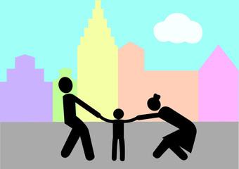 Illustration Scheidungskind; Elternstreit; Junge; Sorgerecht; Konflikt; erziehungsberechtigt; Umgang