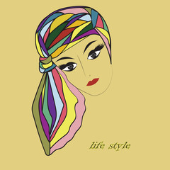 woman's head scarf in shades of bright multicolored background yellow inscription life style vector