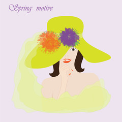spring motive girl in the hat with flowers on a light background vector Some items are made in the style of a careless handmade technique