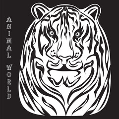 black and white silhouette illustration of a tiger white animal world inscription black background vector