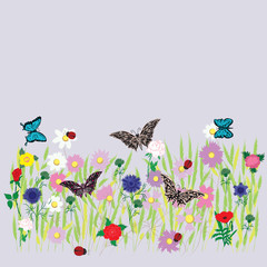 flower field meadow grass bed multicolor flower wheat grass daisy peony rose cornflower wildflowers butterfly ladybugs spring-summer decor isolated on a light background vector