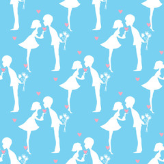 white silhouette of a boy and girl heart pattern bouquet of flowers on a blue background vector