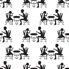 black silhouette of a boy and a girl sitting on the chairs at the table vector white background pattern