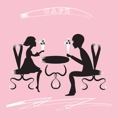 black silhouette of a boy and a girl, sitting on chairs at a table with an ice cream cafe inscription vector background pink