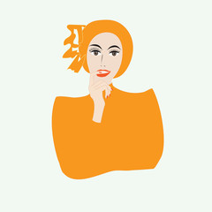 woman in an orange dress isolated illustration art vector light background