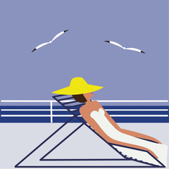 woman in yellow hat in a deck chair on the deck in a sea gull abstract art illustration minimalism flat style vector