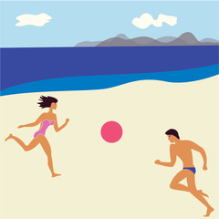 beach man and woman playing with a ball seascape abstract art modern flat style creative vector illustration