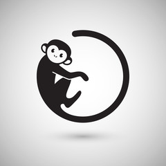 Cute monkey logo in a shape of a circle, New Year 2016, vector illustration logo design