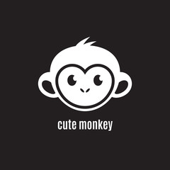 Cute monkey face on dark background, New Year 2016, vector illustration logo design