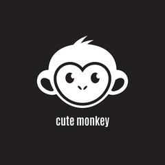 Cute monkey face on dark background, New Year 2016, vector illustration logo design