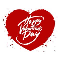 Happy Valentine's Day handwritten text, brush pen lettering on heart, vector illustration