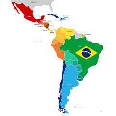 Countries of Latin America with names. Simplified vector map and Brazil flag.