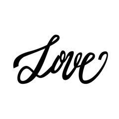 Love handwritten text, Valentine's Day, brush pen lettering, vector illustration