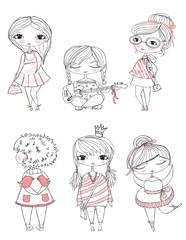 Set of 5 cute stylish girls.