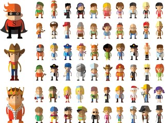 Different people professions characters set in flat style