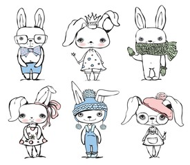 Set of cute different bunnies doodle vector template.