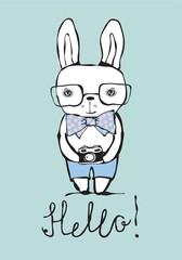 Cartoon rabbit portrait Hello.
