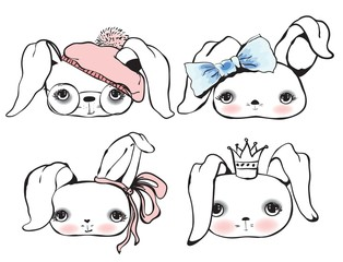 Set of cute rabbit portraits