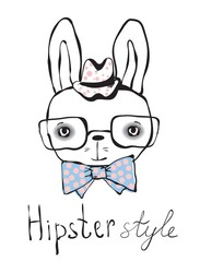 Hipster rabbit boy.