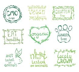 Gmo free, not tested on animals, eat local, healthy food, eco, organic bio, gluten free, vegetarian, vegan labels. Blurred rural background.Vector restaurant menu logo, badges templates