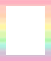 cute colorful watercolor rainbow frame illustration