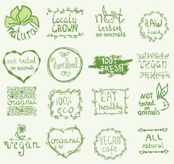 Set of 16 vector icons.100% bio, eat local, healthy food, farm fresh food, eco, organic bio, gluten free, vegetarian, vegan labels, not tested on animals. Restaurant menu logo, badges templates.