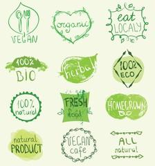 Set of 100% eco, natural product, bio, organic, vegetarian, vegan labels. Vector restaurant menu logo, badges templates