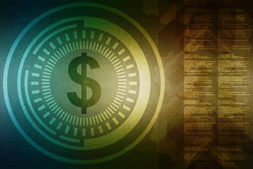 Dollar sign,2d illustration