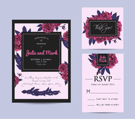 Botanic invitation set with rsvp card. Beautiful invitation deco