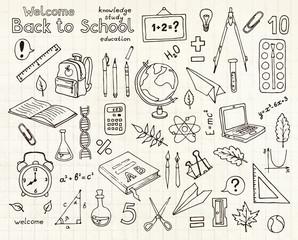 Vector sketches set of school items
